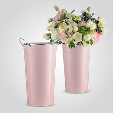 Ваза Металлическая с Ручками и Серебристой Коймой Розовая Большая