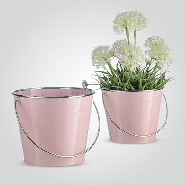 Металлическое Ведерко-Кашпо с Серебристой Коймой Розовое