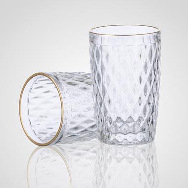 Стакан для Воды Стеклянный Прозрачный с Золотистой Каймой