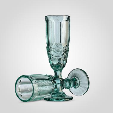 Бокал для Шампанского Стеклянный Бирюзовый