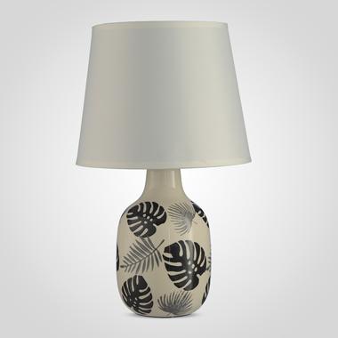 Лампа Настольная Керамическая Кремовая с Серыми Листьями Монстеры