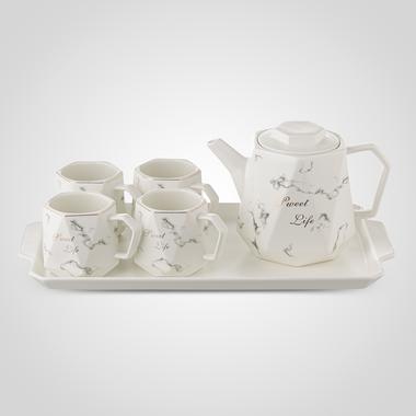 Керамический Белый Набор для Чаепития: Поднос, Чайник, 4 Кружки