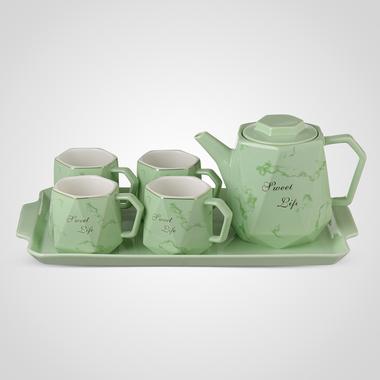 Керамический Зеленый Набор для Чаепития: Поднос, Чайник, 4 Кружки