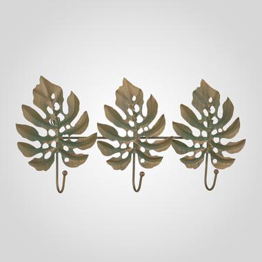 Металлическая Вешалка-Листья Монстеры Зеленый с Золотистым