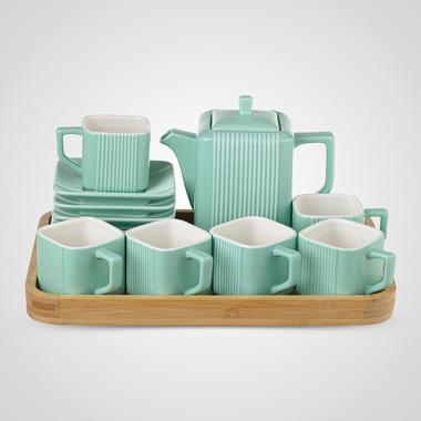 Керамический Зеленый Набор для Чаепития: Деревянный Поднос, Чайник, 6 чайных пар