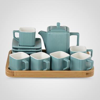 Керамический Синий Набор для Чаепития: Деревянный Поднос, Чайник, 6 чайных пар