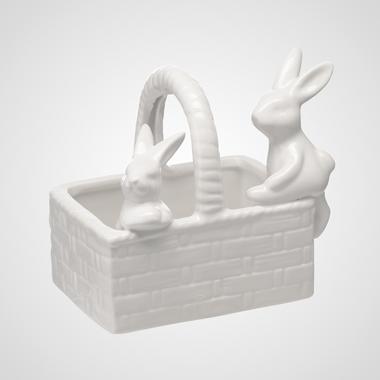 Керамическая Плетеная Конфетница-Корзинка с Кроликами