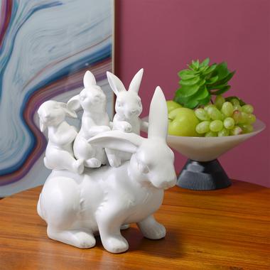 Декоративная Фигура Мама-Кролик с Малышами (Керамика) 28х28х15
