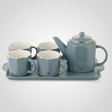 Керамический Серо-Голубой Набор для Чаепития: Поднос, Чайник, 4 Кружки