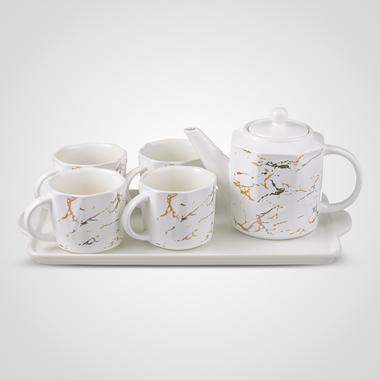 Керамический Набор для Чаепития: Поднос, Чайник, 4 Кружки