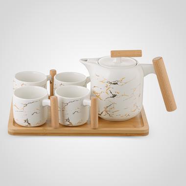 Керамический Набор для Чаепития: Деревянный Поднос, Чайник, 4 Кружки