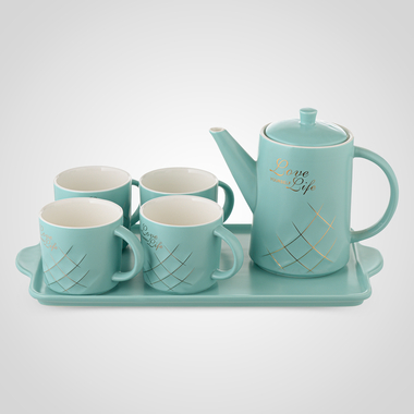 Керамический Бирюзовый Набор для Чаепития: Поднос, Чайник, 4 Кружки