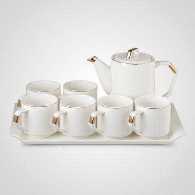 Керамический Белый Набор для Чаепития: Поднос, Чайник, 6 Кружек
