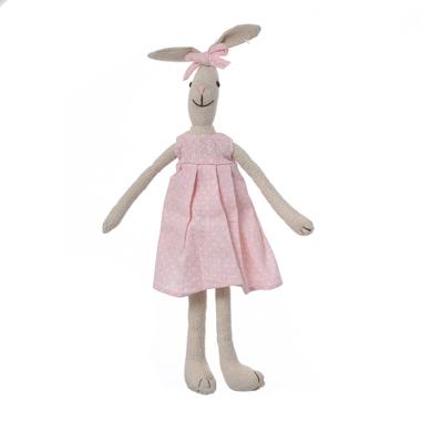 Кролик девочка в розовом платье с бантиком 70см L1307001B