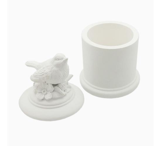 Шкатулка «Садовая птичка» (белый снег)