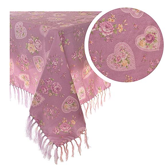 Скатерть розовая с сердечками 135х135 245 (135х135)