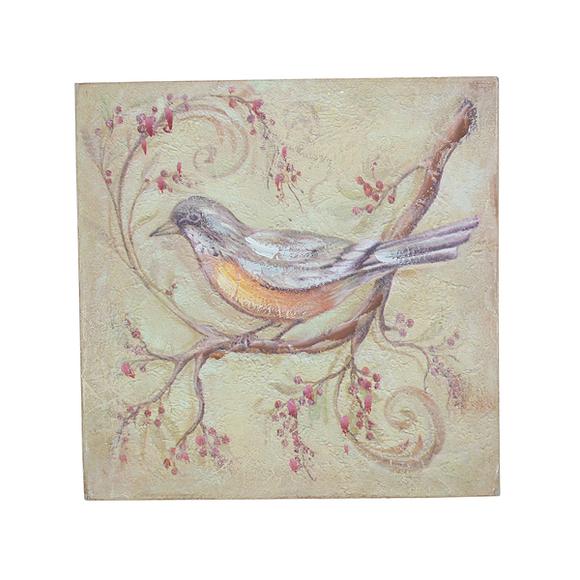Панно птица на рябине 20х20 FR0508