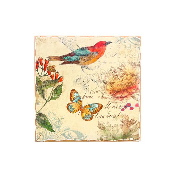 Панно птица и бабочка 28х28 H1-1/9