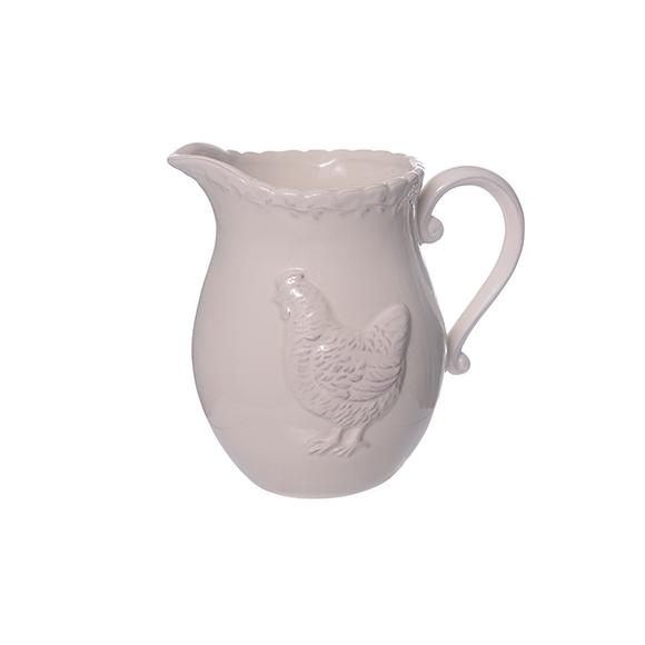 Кувшин керамический белый с курицей 13х17см T06616-2